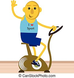 Man riding on stationary bicycle