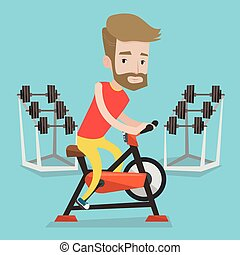 Man riding stationary bicycle vector illustration. - A...