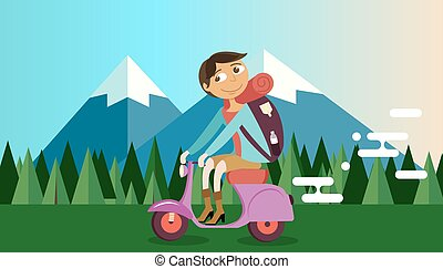 man riding vespa bike motorcycle in nature mountain forest background vector illustration travel