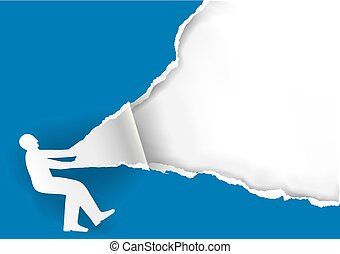 Man ripping blue paper background