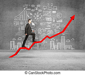 man rise - businessman rise on chart and drawing concept on...