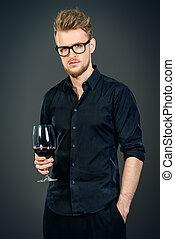 man, rode wijn