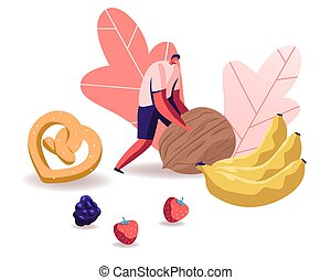 Man Rolling Huge Nut with Pretzel, Bananas and Berries...