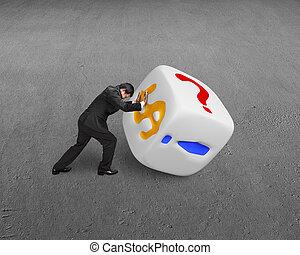 man rolling white dice