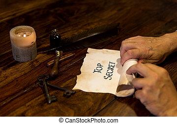 Man rolls a parchment Top Secret
