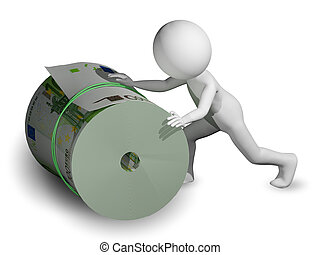 man rolls a roll of Euro