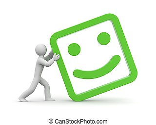 Man rolls smiling face - Communication concept. Isolated on...