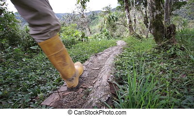 Man Rubber Boots Trail Going