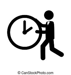 man run clock icon vector graphic