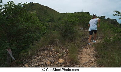 Man run outdoors on mountain