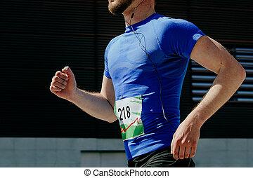 man runner in blue t-shirt