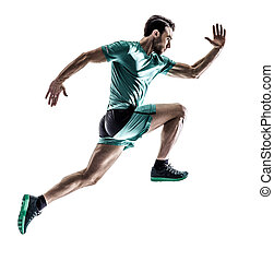 man runner jogger running isolated - one young man runner...