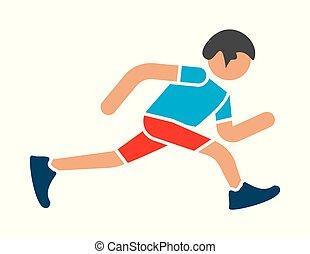 Man runner jogger running vector icon - Vector illustration...