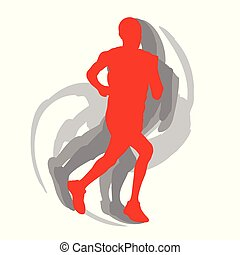 Man runner motion isolated vector background concept