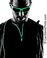 man runner portrait jogger silhouette