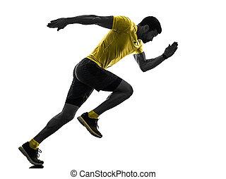 man runner running jogger jogging isolated silhouette white back