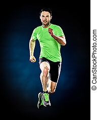man runner running jogger jogging isolated