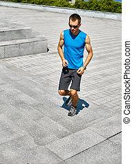 man runner runs at morning