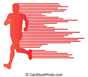 Man runner silhouette vector background template concept made of stripes for poster