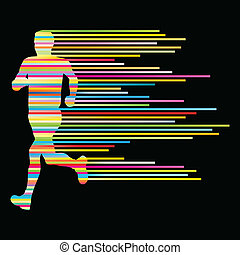 Man runner silhouette vector background template concept ...