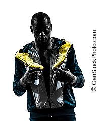 man runner sprinter jogger posing portrait silhouette