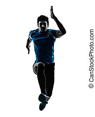 man runner sprinter jogger silhouette - one caucasian man...