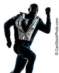 man runner sprinter jogger silhouette - one caucasian man...