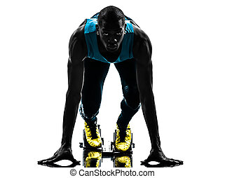 man runner sprinter on starting blocks   silhouette