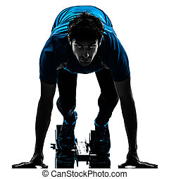 man runner sprinter on starting blocks silhouette - one...