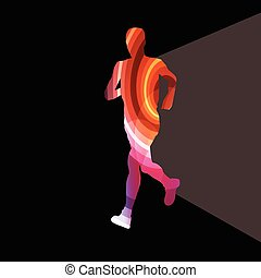 Man runner sprinter silhouette illustration background colorful concept