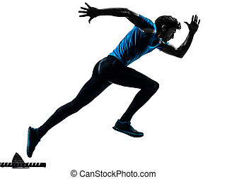 man runner sprinter silhouette - one caucasian man running...