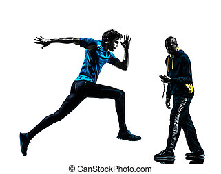 man runner sprinter with coach  stopwatch silhouette