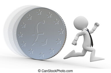 Man running aeay from a huge coin