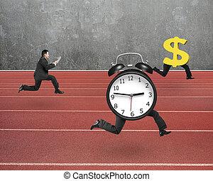 Man running after alarm clock and Euro money symbol