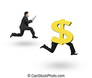 Man running after dollar money symbol with human legs running