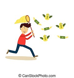 Man running after flying money with butterfly net - Happy...