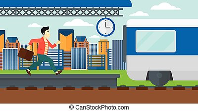 An asian man running along the platform to reach the train on a city background vector flat design illustration. Horizontal layout.