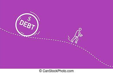 man running away from a huge debt.