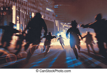 man running away from zombies in night city, illustration, digital painting