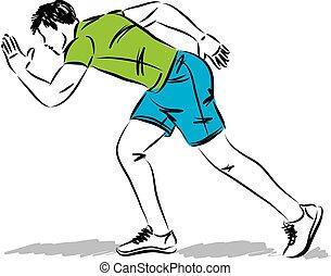 man running body posture vector illustration