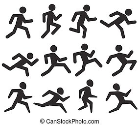 Man running figure black pictograms, jogging activity vector icons isolated on white