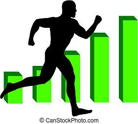 Man Running Fitness Statics Vector