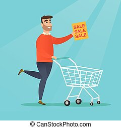 Man running in a hurry to the store on sale.