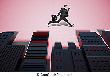 Man running in abstract city with shadows