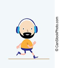 Man running in flat style for healthy and active lifestyle concept. Vector illustration.