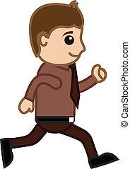 Man Running in Office - Vector