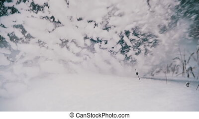 Man Running in the Deep Snow in the Winter Forest at Snowy Day. Slow Motion