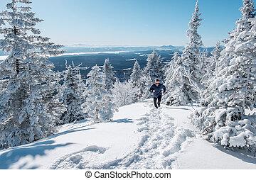 Man running in the snow