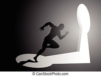 Man running into a keyhole - Silhouette illustration of a...