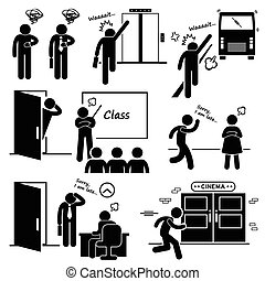 Man Running Late and Rushing - A set of human pictogram...